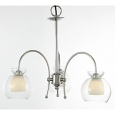 Diyas Malvina Pendant/Semi Ceiling 3 Light Polished Chrome/Clear Glass