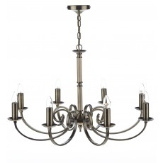 Dar Murray 8 Light Antique Brass Pendant Light