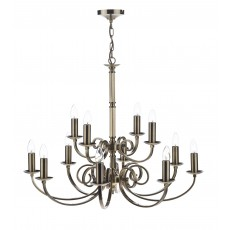 Dar Murray 12 Light Antique Brass Pendant Light