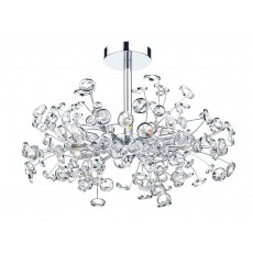Dar Oberoi 6 Light Polished Chrome Semi Flush Light