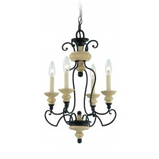 Quoizel Shelby 4 Light Sand/Black Chandelier Light