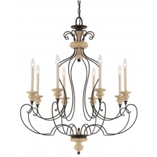 Quoizel Shelby 8 Light Sand/Black Chandelier Light