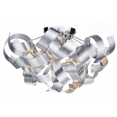 Dar Rawley 4 Light Silver Ribbon Flush Light