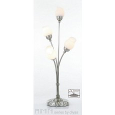 Diyas Rimini Table Lamp With In-Line Switch 4 Light Satin Chrome/Opal Glass