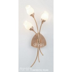 Diyas Rimini Wall Lamp 3 Light Antique Copper/Opal Glass