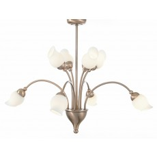 Diyas Rimini Pendant 8 Light Antique Copper/Opal Glass