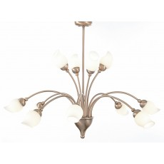 Diyas Rimini Pendant 12 Light Antique Copper/Opal Glass