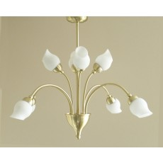 Diyas Rimini Pendant 8 Light Satin Brass/Opal Glass