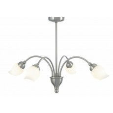 Diyas Rimini Pendant 4 Light Satin Chrome/Opal Glass