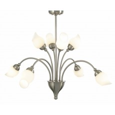 Diyas Rimini Pendant 8 Light Satin Chrome/Opal Glass