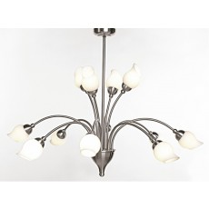 Diyas Rimini Pendant 12 Light Satin Chrome/Opal Glass