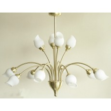 Diyas Rimini Pendant 12 Light Satin Brass/Opal Glass