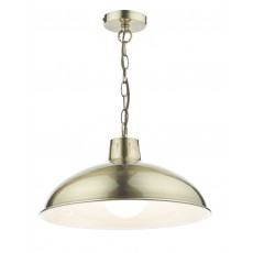 Dar Roland 1 Light Antique Brass Pendant Light