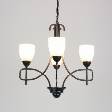 Diyas San Marino Pendant 4 Light Tex/Pewter/Frosted Glass