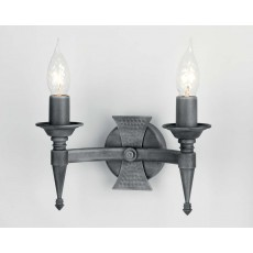 Elstead Saxon 2 Light Black/Silver Wall Light