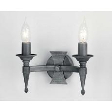 Elstead Saxon 2 Light Black/Silver Wall Light