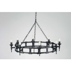 Elstead Saxon 8 Light Black Chandelier Light