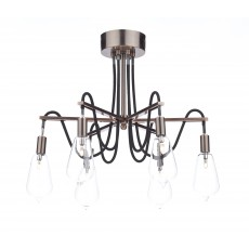 Dar Scroll 6 Light  Copper Semi Flush Light