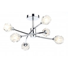 Dar Seattle 6 Light Polished Chrome Semi Flush Light