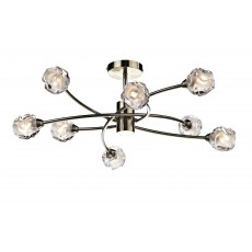 Dar Seattle 8 Light Antique Brass Semi Flush Light