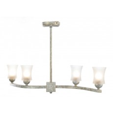 Diyas Toscano Semi Ceiling 4 Light White/French Gold/Frosted Glass