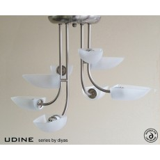 Diyas Udine Pendant 8 Light Satin Chrome/Frosted Glass