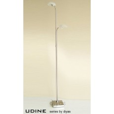 Diyas Udine Floor Lamp With In-Line Dimmer 2 Light Satin Chrome/Frosted Glass