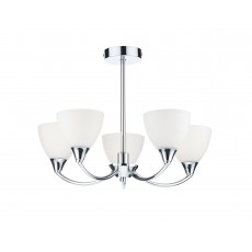 Dar Watson 5 Light Polished Chrome Led Semi Flush Light