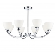 Dar Watson 8 Light Polished Chrome Led Semi Flush Light