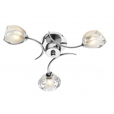 Dar Zagreb 3 Light Polished Chrome Semi Flush Light