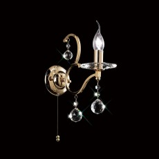 Diyas Zinta Wall Lamp Switched 1 Light French Gold/Crystal